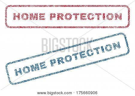 Home Protection text textile seal stamp watermarks. Blue, red fabric vectorized texture. Vector tag inside rounded rectangular shape. Rubber sign with fiber textile structure.