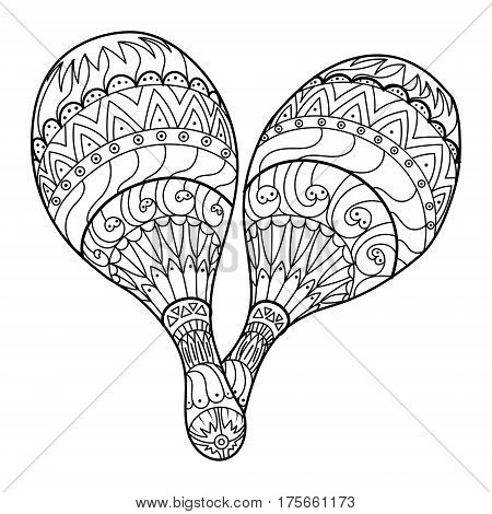 Maraca musical instrument coloring book vector illustration
