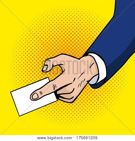 Hand gives business card pop art style. Hand drawn comic book imitation vector illustration