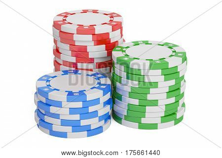 Casino Tokens stack closeup 3D rendering isolated on white background