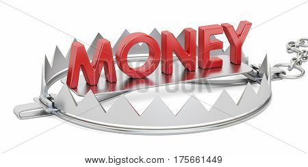 Credit trap with money inscription 3D rendering isolated on white background
