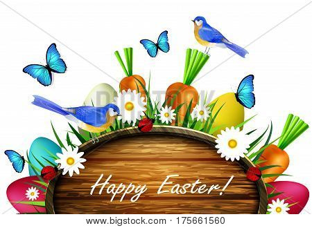 Happy Easter wooden board on a lawn with flowers blue butterflyes easter eggs carrots and ladybug bluebirds vector