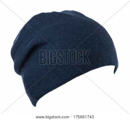 Hat Isolated On White Background .knitted Hat. Blue Hat