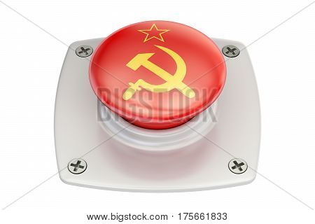 USSR flag push button 3D rendering on white