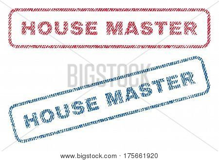 House Master text textile seal stamp watermarks. Blue, red fabric vectorized texture. Vector tag inside rounded rectangular shape. Rubber emblem with fiber textile structure.
