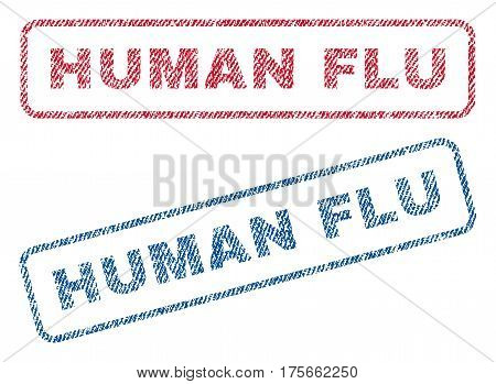 Human Flu text textile seal stamp watermarks. Blue, red fabric vectorized texture. Vector caption inside rounded rectangular shape. Rubber emblem with fiber textile structure.