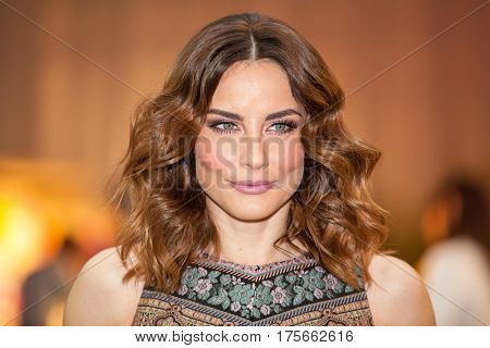 ZAGREB, CROATIA - MARCH 2, 2017: Croatian celebrity and famous TV host Antonija Stupar Jurkin posing at the Elfs fashion show