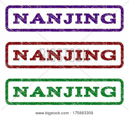 Nanjing watermark stamp. Text tag inside rounded rectangle frame with grunge design style. Vector variants are indigo blue, red, green ink colors. Rubber seal stamp with dirty texture.