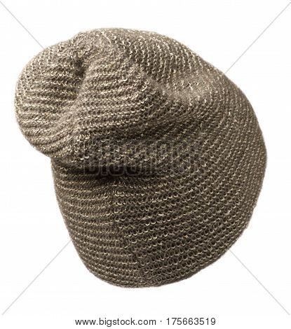 Women's Hat . Knitted Hat Isolated On White Background .brown Hat