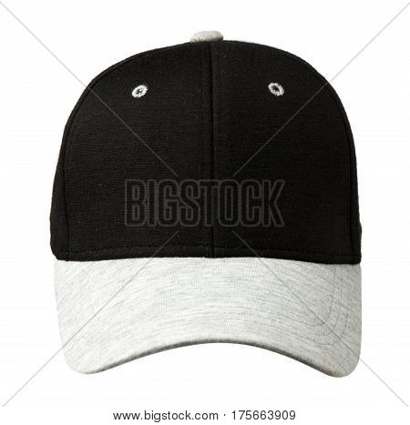 Sports Cap Isolated On A White Background .cap With A Black Top And Gray Visor