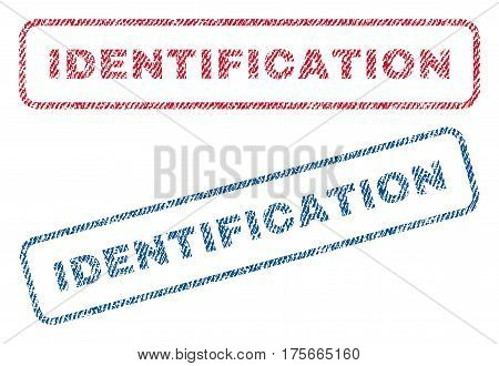 Identification text textile seal stamp watermarks. Blue, red fabric vectorized texture. Vector tag inside rounded rectangular shape. Rubber sign with fiber textile structure.