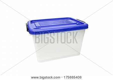 Plastic container storage box with a blue lid
