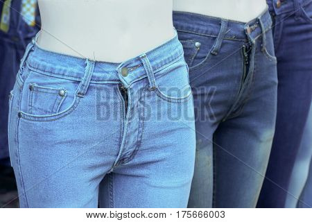 Female skinny jeans on the model isolated