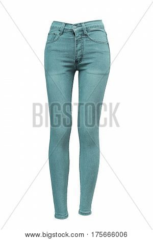 Female skinny jeans isolated on white background
