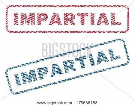 Impartial text textile seal stamp watermarks. Blue, red fabric vectorized texture. Vector caption inside rounded rectangular shape. Rubber emblem with fiber textile structure.
