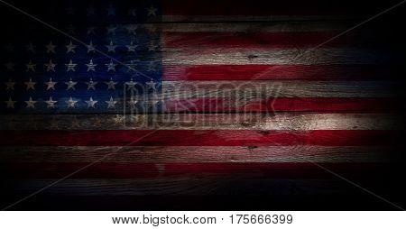 Grunge USA flag on a wood surface