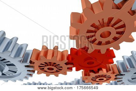 3D illustration of Silver Orange and Red Gears with a white background