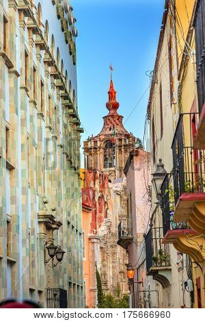 Narrow Street University Templo De La Compania Bell Steeple Guanajuato Mexico. Compania built by the Jesuits between 1746 to 1765.