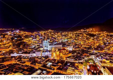 Our Lady of Guanajuato Church University Templo Companiea Templo San Diego Jardin Union Garden Night Guanajuato Mexico From Le Pipila Overlook
