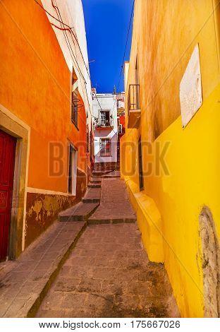 Yellow Orange Very Narrow Street Guanajuato Mexico