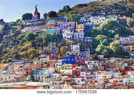 Many Colored Orange Blue Red Houses El Pipila Statue Guanajuato Mexico