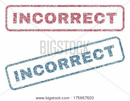 Incorrect text textile seal stamp watermarks. Blue, red fabric vectorized texture. Vector caption inside rounded rectangular banner. Rubber sign with fiber textile structure.