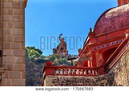 Juarez Theater Temple de San Diego San Diego Church El Pipila Statue Guanajuato Mexico. El Pipila is a Mexican Hero from 1810 Mexican War of Independence.