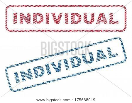 Individual text textile seal stamp watermarks. Blue, red fabric vectorized texture. Vector tag inside rounded rectangular shape. Rubber emblem with fiber textile structure.