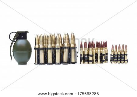 A Grenade and some ammo with different sizes
