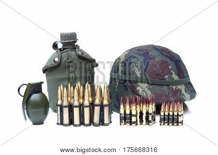 Military equipment for soldier - ammo genade water bottle helmet