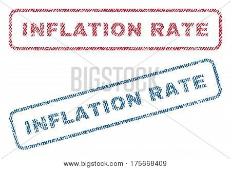 Inflation Rate text textile seal stamp watermarks. Blue, red fabric vectorized texture. Vector caption inside rounded rectangular banner. Rubber emblem with fiber textile structure.