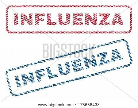 Influenza text textile seal stamp watermarks. Blue, red fabric vectorized texture. Vector tag inside rounded rectangular shape. Rubber sticker with fiber textile structure.