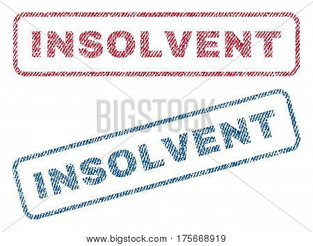Insolvent text textile seal stamp watermarks. Blue, red fabric vectorized texture. Vector caption inside rounded rectangular shape. Rubber sign with fiber textile structure.