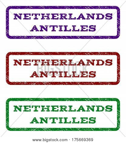 Netherlands Antilles watermark stamp. Text tag inside rounded rectangle frame with grunge design style. Vector variants are indigo blue, red, green ink colors.