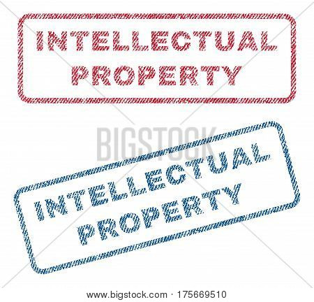 Intellectual Property text textile seal stamp watermarks. Blue, red fabric vectorized texture. Vector caption inside rounded rectangular shape. Rubber sticker with fiber textile structure.