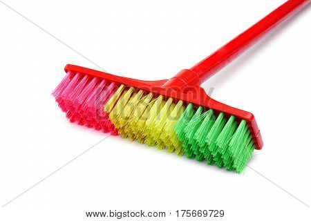 Closeup of floor brush isolated on white