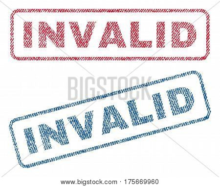 Invalid text textile seal stamp watermarks. Blue, red fabric vectorized texture. Vector tag inside rounded rectangular banner. Rubber sign with fiber textile structure.