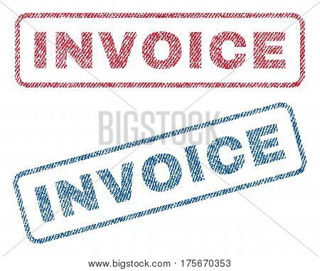 Invoice text textile seal stamp watermarks. Blue, red fabric vectorized texture. Vector tag inside rounded rectangular banner. Rubber emblem with fiber textile structure.