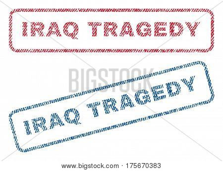 Iraq Tragedy text textile seal stamp watermarks. Blue, red fabric vectorized texture. Vector tag inside rounded rectangular shape. Rubber emblem with fiber textile structure.
