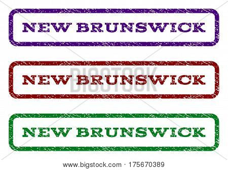 New Brunswick watermark stamp. Text tag inside rounded rectangle with grunge design style. Vector variants are indigo blue, red, green ink colors. Rubber seal stamp with dust texture.