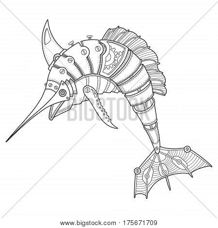 Steam punk style swordfish. Mechanical animal. Coloring book vector illustration.