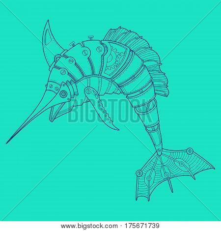Steam punk style swordfish. Mechanical animal. Color hand drawn fashion vector illustration.