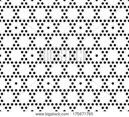 Vector monochrome seamless pattern. Simple geometric texture with small hexagons. Black and white illustration, hexagonal grid. Repeat abstract light geometrical background. Decorative design element