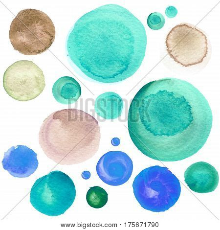 Set of colorful watercolor hand painted circle isolated on white. Watercolor Illustration for artistic design. Round stains blobs of sky blue mint green brown