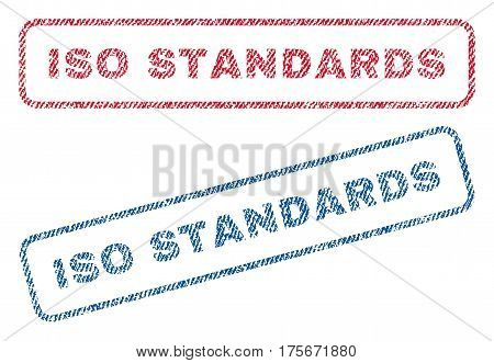 ISO Standards text textile seal stamp watermarks. Blue, red fabric vectorized texture. Vector caption inside rounded rectangular shape. Rubber sign with fiber textile structure.