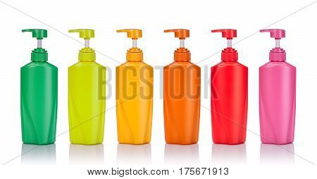 Set Blank Green, Yellow, Pink, Orange And Red Plastic Pump Bottle Used For Shampoo Or Soap. Studio S