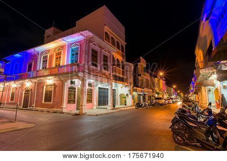 PHUKET THAILAND - JANUARY 05 2017; Soi Rommanee street. Phuket old town with old buildings in Sino Portuguese style is a very famous tourist destination of Phuket Thailand.