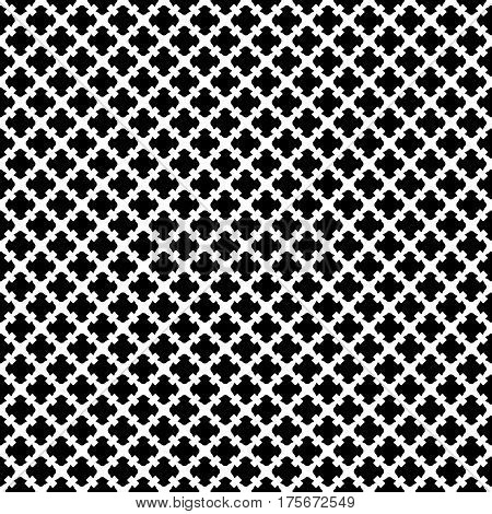 Vector seamless pattern. Simple black & white geometric texture. Endless ornamental background, retro gothic style. Symmetric square abstract backdrop. Repeat tiles. Design for prints, textile, fabric, cloth, decoration, apparel, wrapping