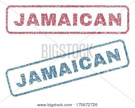 Jamaican text textile seal stamp watermarks. Blue, red fabric vectorized texture. Vector tag inside rounded rectangular shape. Rubber sticker with fiber textile structure.