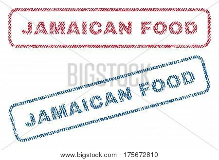 Jamaican Food text textile seal stamp watermarks. Blue, red fabric vectorized texture. Vector tag inside rounded rectangular shape. Rubber sticker with fiber textile structure.